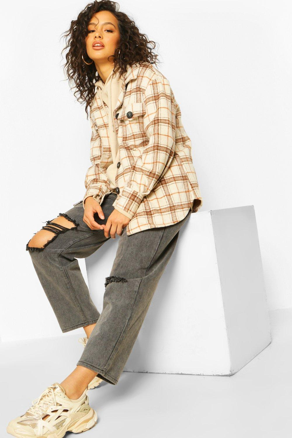 Checked Shirts Beige Brushed Check Shirt