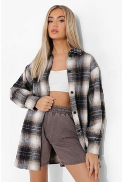 Navy Brushed Check Shacket