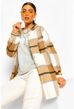 Tan Brushed Check Shacket