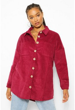 Berry red Cord Oversized Shirt
