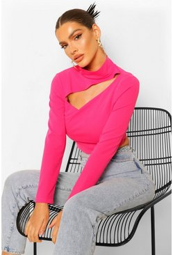 Crepe High Neck Cut Out Detail Top, Hot pink rose