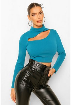 Crepe High Neck Cut Out Detail Top, Teal vert