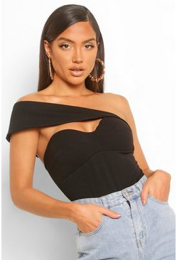 Crepe Asymetic Off The Shoulder Bodysuit, Black noir