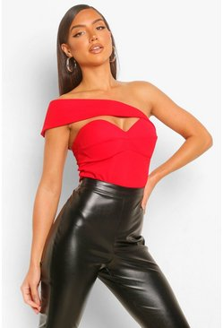 Crepe Asymetic Off The Shoulder Bodysuit, Red rouge