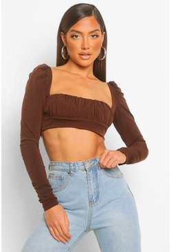 RuRuched Square Neck Long Sleeve Crop Top, Chocolate marron