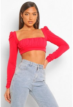 RuRuched Square Neck Long Sleeve Crop Top, Red rouge