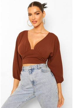 Chocolate Plunge Neck Batwing Top