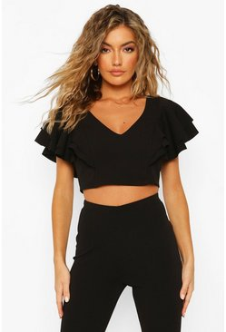 Black svart Ruffle Detail Plunge Crop Top