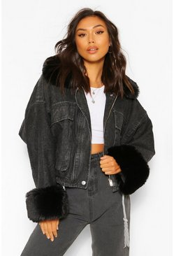 Black Faux Fur Trim Oversized Denim Jacket