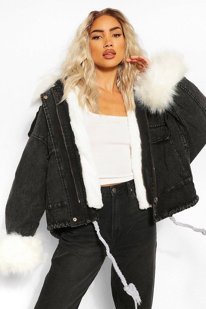 Faux Fur Trim Oversized Denim Jacket BRAND NEW!