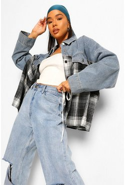 Black Check Denim Belted Jacket