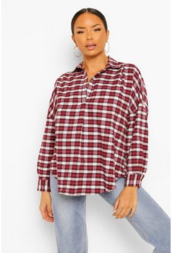 Berry red Flannel Oversized Collared Shirt
