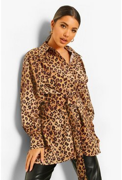 Leopard Print Split Back And Tie Tunic