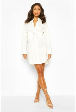 White Cotton Mix Lace Up Waist Shirt Dress