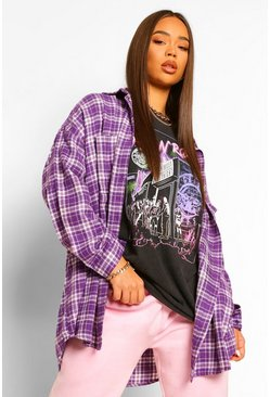Purple Oversized Checked Shirt