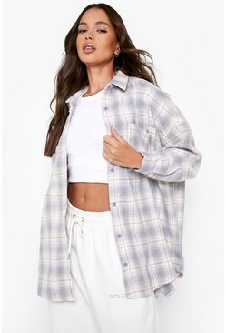 Oversized Checked Shirt, Grey gris