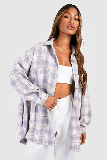 Grey Oversized Checked Shirt