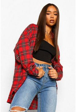 Red Oversized Checked Shirt