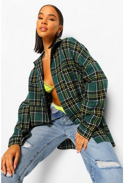 Oversized Checked Shirt, Green vert