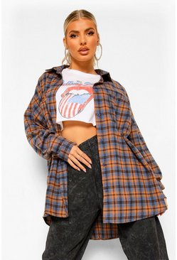 Brown Oversized Flannel Shirt