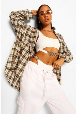White Oversized Checked Shirt
