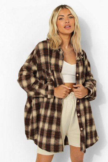 Stone Oversized Checked Shirt