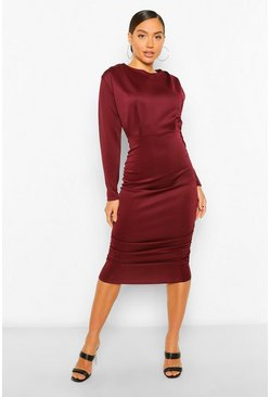 Berry red Shoulder Pad Ruched Skirt Midi Dress