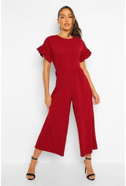 Berry red Smock Style Culotte Jumpsuit