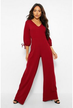 Berry red Tie Crop Sleeve Wide Leg Jumpsuit