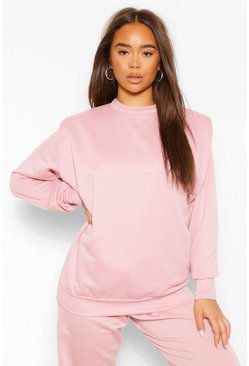 Shoulder Pad Detail Sweatshirt, Dusty pink