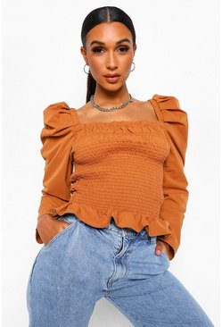 Tobacco brown Woven Long Sleeve Shirred Blouse
