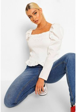 White Woven Long Sleeve Shirred Blouse