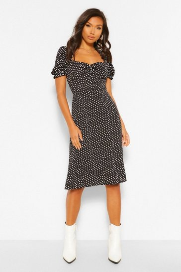 Black Polka Dot Woven Puff Sleeve Midi Dress
