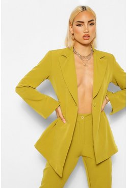 Lime green Tailored Split Sleeve Fitted Blazer