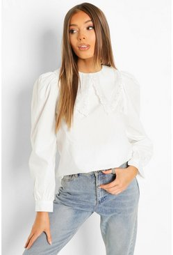 Cotton Poplin Lace Collar Shirt, White bianco