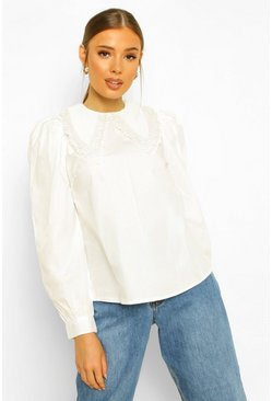 Cotton Poplin Lace Collar Shirt, White blanco