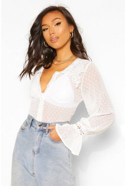 White Dobby Mesh Blouse With Oversized Applique Collar