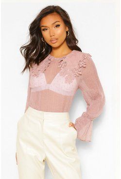 Blush pink Crinkle Dobby Mesh Blouse Applique Collar