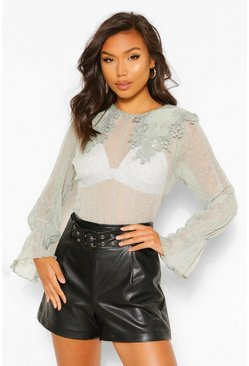 Sage green Crinkle Dobby Mesh Blouse Applique Collar