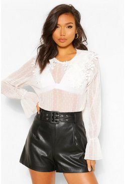 White Crinkle Dobby Mesh Blouse Applique Collar