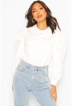 White Cotton Poplin Crochet Collar Shirt