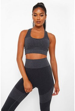 Black Seamfree Burnout Stripe Sports Bra