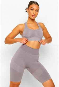 Grey Seamfree Burnout Stripe Sports Bra