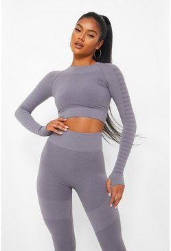 Grey Naadloze Gestreepte Fitness Crop Top