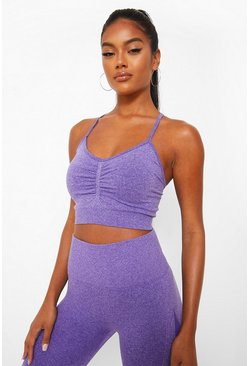 Purple Seamfree Marl Firm Support Sports Bra