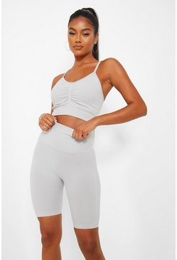 Light grey Seamfree Marl Firm Support Sports Bra