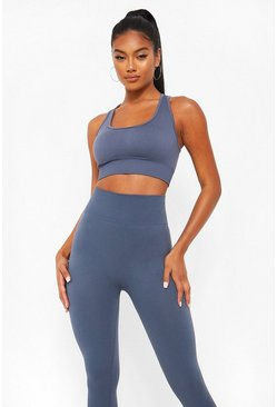 Grey Basic Seamfree Sports Bra