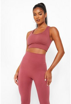 Pink Basic Seamfree Sports Bra