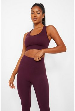 Wine red Basic Seamfree Sports Bra