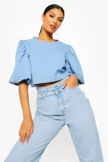 Blue Sleeve Detail Balloon Sleeve Crop Sweater